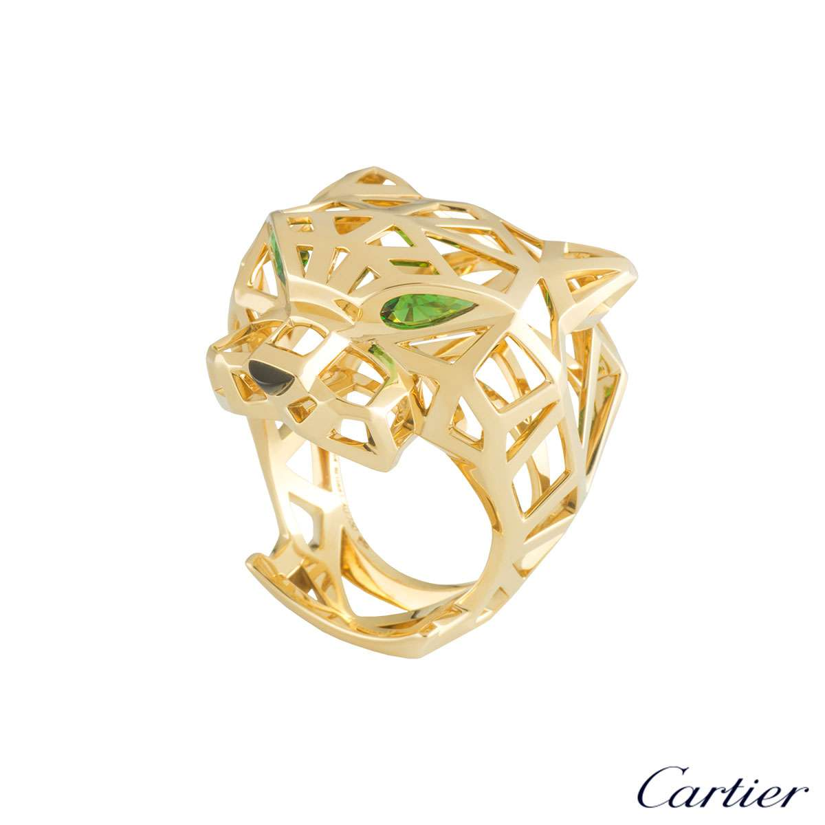 Cartier Yellow Gold Tsavorite and Onyx Panthere Ring Size 64 N4722564